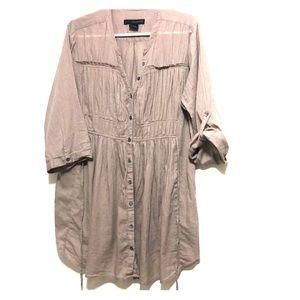 Calvin Klein Tan Pinstriped Roll Sleeve Shirt
